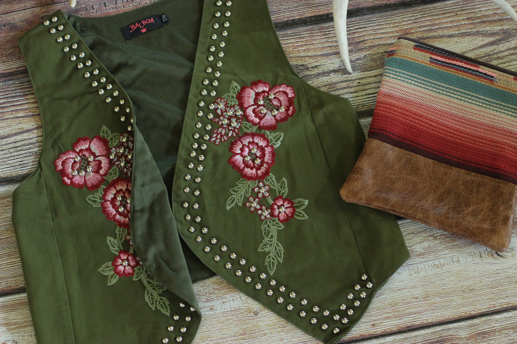 Renegade Rose Embroidered Vest with Studs