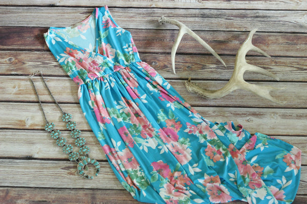 Bright Blues Floral Maxi Dress - Saddles & Lace - New western and southwest inspired clothing, bags, and accessories for women