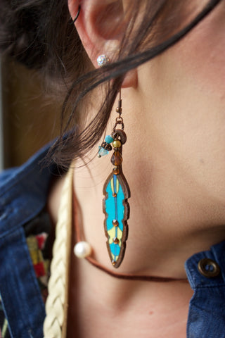 Handmade Turquoise Feather Earrings