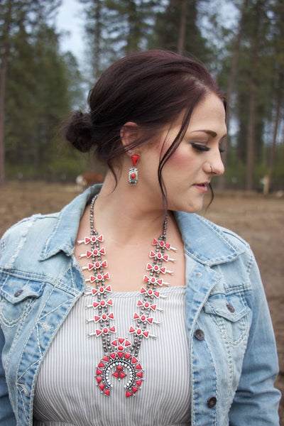 The Red Buffalo -Squash Blossom Necklace - Saddles & Lace - New western and southwest inspired clothing, bags, and accessories for women