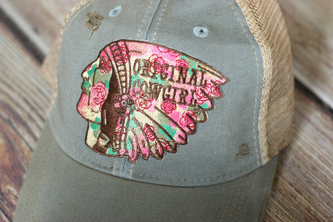 Original Cowgirl Outlaw Ladies Baseball Trucker Hat - Saddles & Lace - New western and southwest inspired clothing, bags, and accessories for women