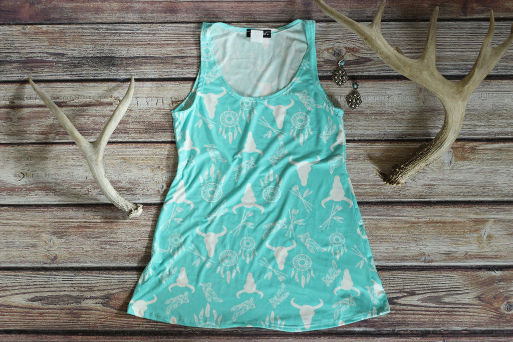 Mint Longhorn Print Tank Top - Saddles & Lace - New western and southwest inspired clothing, bags, and accessories for women