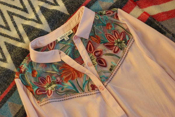 Rose Embroidered Button Down Blouse
