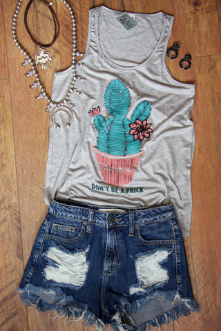Don't Be A Prick Heather Grey Graphic Tank Top - Saddles & Lace - New western and southwest inspired clothing, bags, and accessories for women