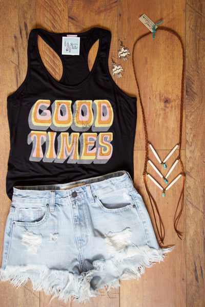 Good Times Vintage Racer-back Tank Top - Saddles & Lace - New western and southwest inspired clothing, bags, and accessories for women