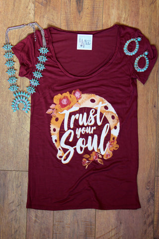 'Trust Your Soul' Graphic Tee Shirt - Saddles & Lace Boutique - Western and boho inspired clothing, bags, and accessories for women