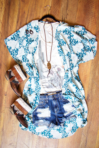 The Miley Blues Kimono - Saddles & Lace - New western and southwest inspired clothing, bags, and accessories for women