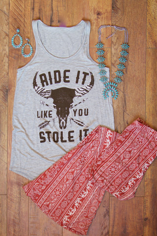 Ride It Like Racer-back Tank Top