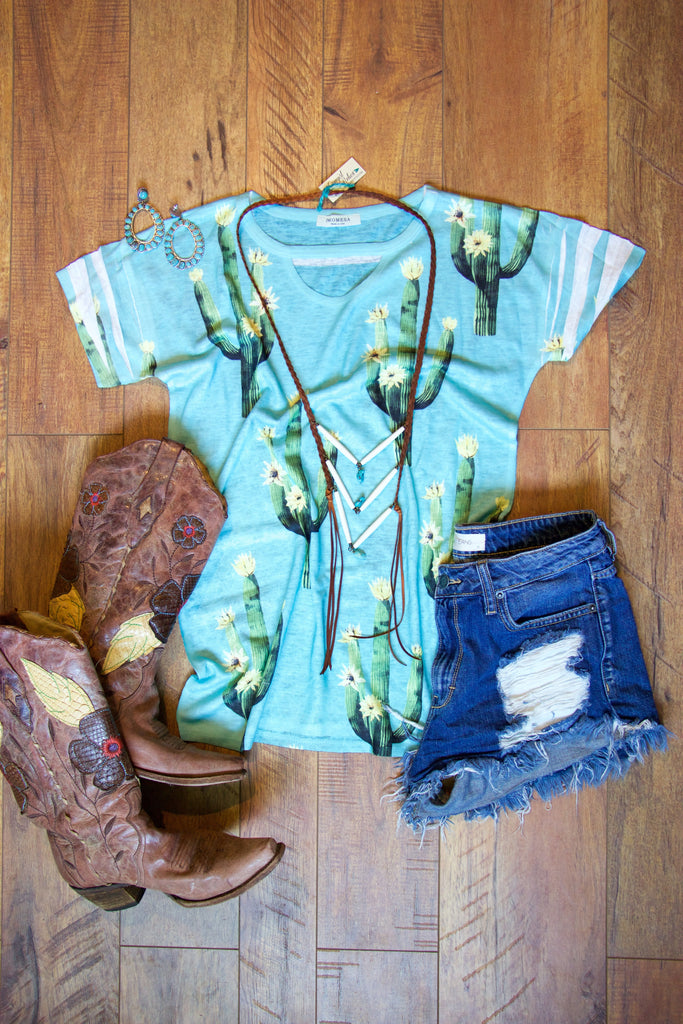 Aqua Cactus Choker Tee - Saddles & Lace - New western and southwest inspired clothing, bags, and accessories for women