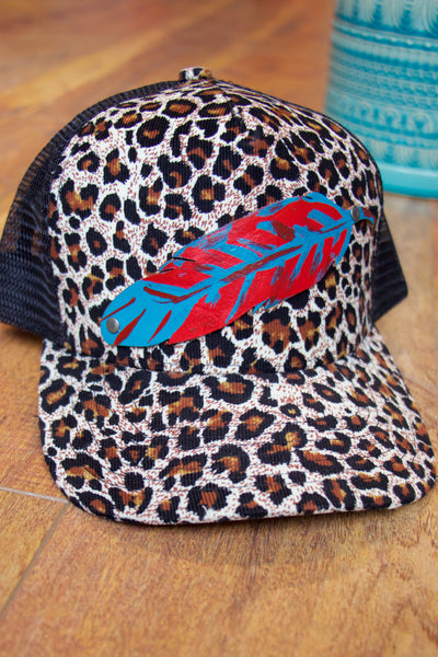 'The Dreamer' Leather Feather Trucker Hat - Cheetah - Saddles & Lace - New western and southwest inspired clothing, bags, and accessories for women