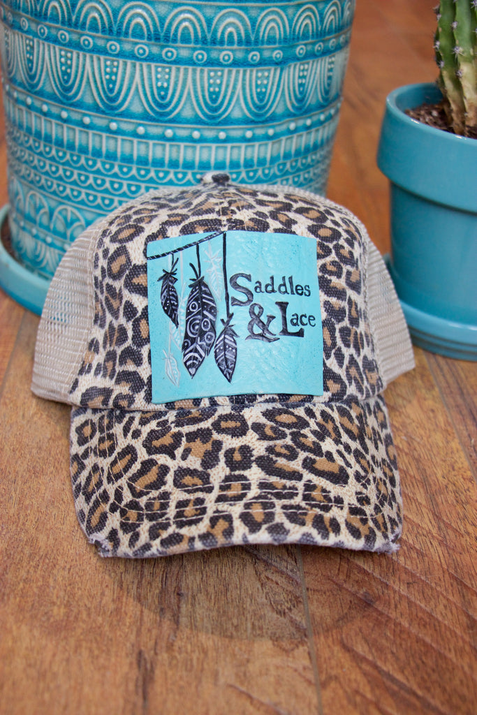 Saddles & Lace Trucker Hat - Cheetah