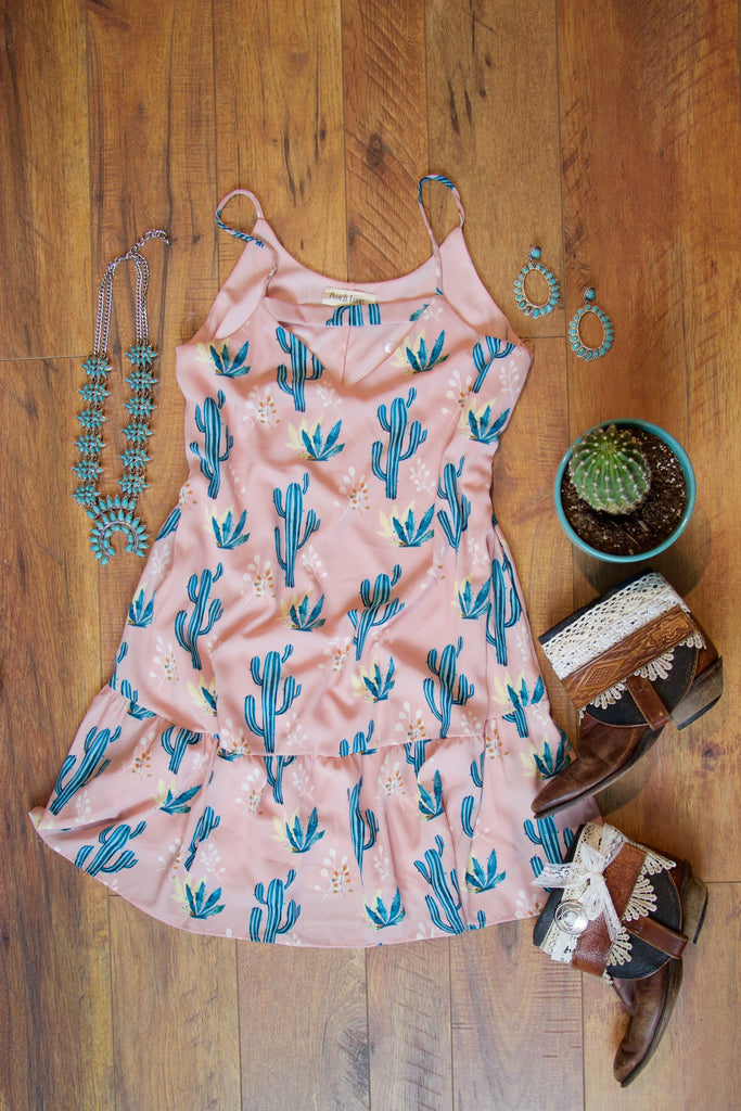 Blushing Cactus Dress - Saddles & Lace - New western and southwest inspired clothing, bags, and accessories for women
