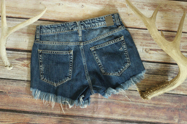 Ultimate High Waisted Denim Shorts - Dark Wash
