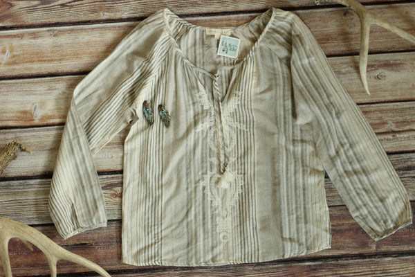 The Monte - Embroidered Pin Striped Blouse - Saddles & Lace - New western and southwest inspired clothing, bags, and accessories for women
