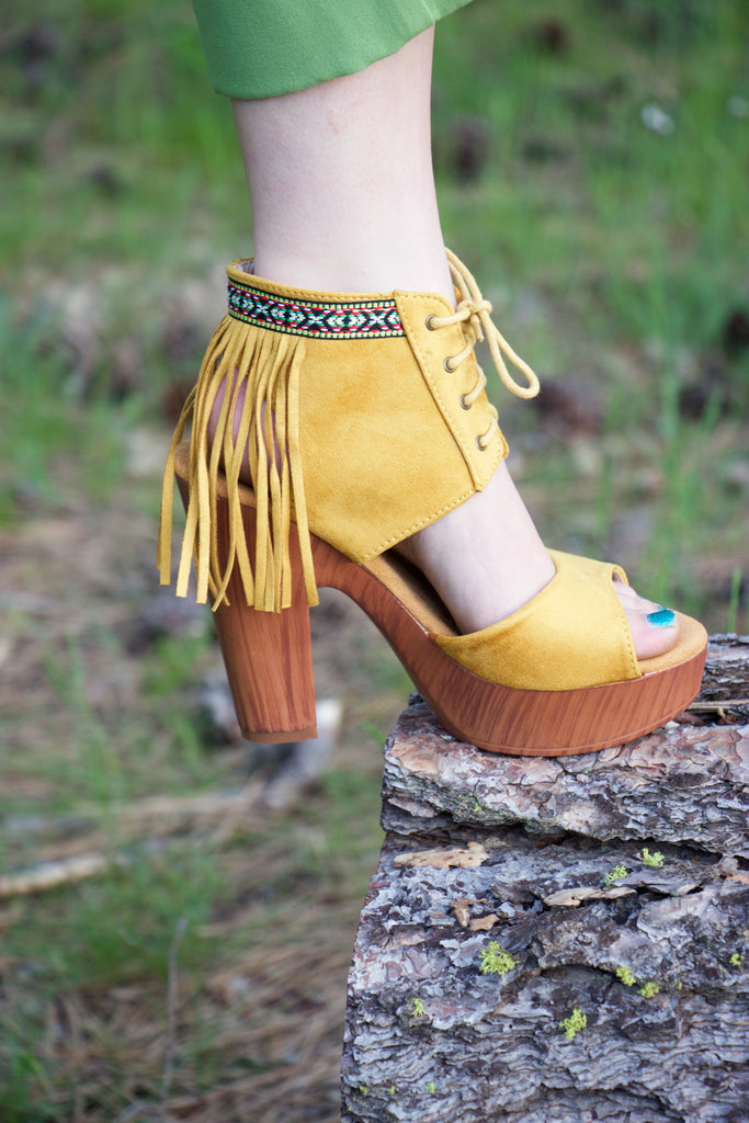 The Santa Fe - Yellow Fringed Lace Up Platform Sandals - Saddles & Lace - New western and southwest inspired clothing, bags, and accessories for women