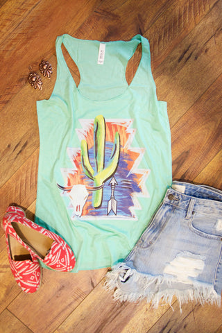 Painted Cactus Tank - Mint