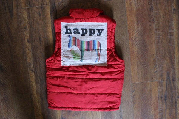 Happy Ass Serape on Red Puff Vest - Saddles & Lace - New western and southwest inspired clothing, bags, and accessories for women