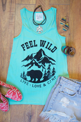 Feel Wild Tank Top - Mint - Saddles & Lace - New western and southwest inspired clothing, bags, and accessories for women