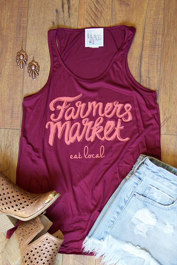 Farmers Market, Eat Local - Tank Top - Saddles & Lace - New western and southwest inspired clothing, bags, and accessories for women
