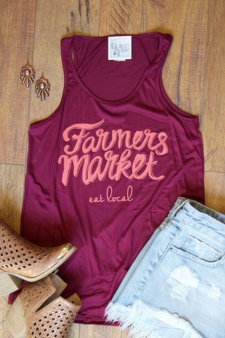 Farmers Market, Eat Local - Tank Top - Saddles & Lace Boutique - Western and boho inspired clothing, bags, and accessories for women