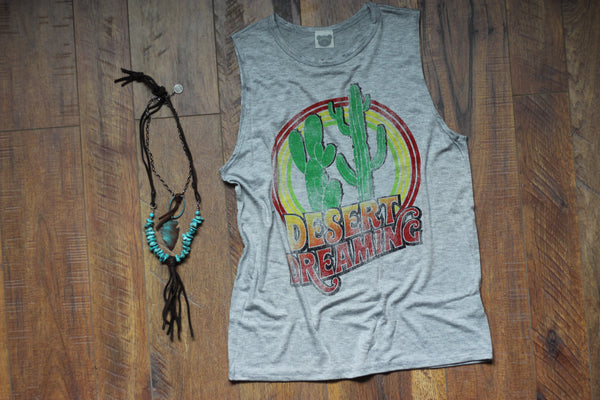 Desert Dreaming Heather Grey Tank Top - Saddles & Lace - New western and southwest inspired clothing, bags, and accessories for women