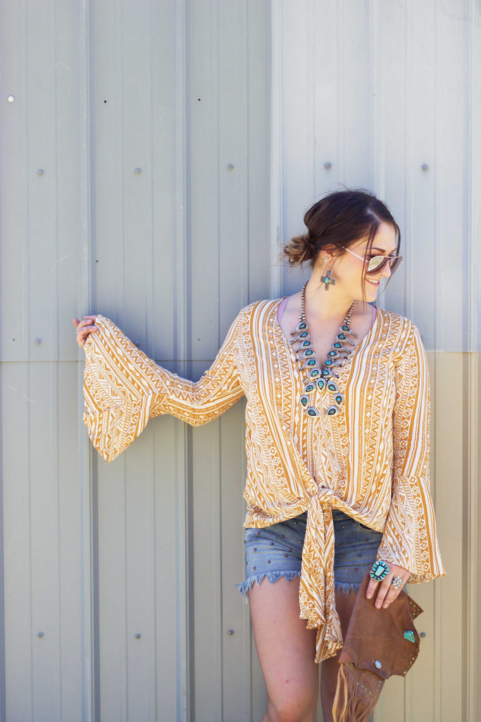 The Yellow Rose- Mustard Bell Sleeve Blouse