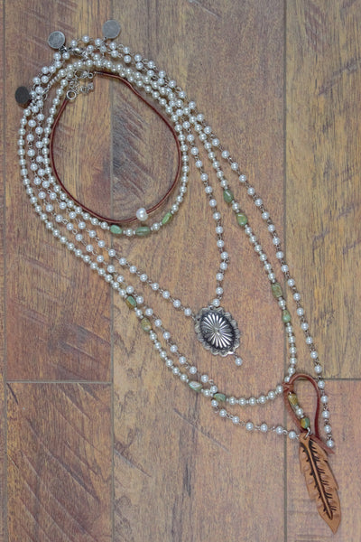 Pearls & Leather - 5 Piece Necklace Set - Saddles & Lace Boutique - Western and boho inspired clothing, bags, and accessories for women