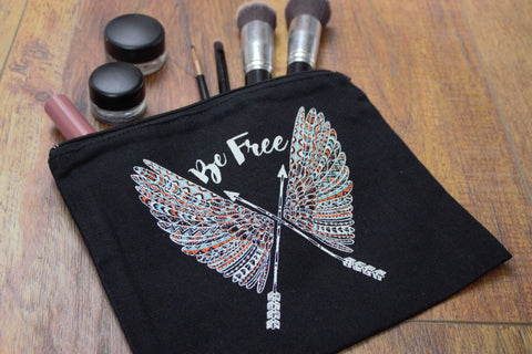 Be Free Wings - Makeup Pouch - Saddles & Lace - New western and southwest inspired clothing, bags, and accessories for women