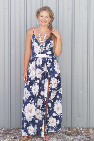 The Floral Dreams - Blue Maxi Dress - Saddles & Lace Boutique - Western and boho inspired clothing, bags, and accessories for women