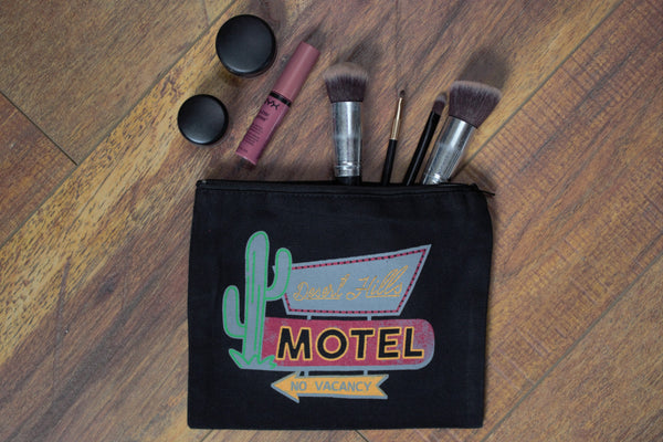 Desert Hills Motel - Makeup Pouch - Saddles & Lace - New western and southwest inspired clothing, bags, and accessories for women