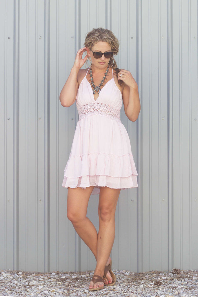 The Baby Blues Dress -In Blush - Saddles & Lace Boutique - Western and boho inspired clothing, bags, and accessories for women