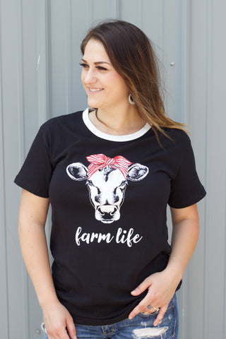 Farm Life - Black Tee Shirt - Saddles & Lace - New western and southwest inspired clothing, bags, and accessories for women