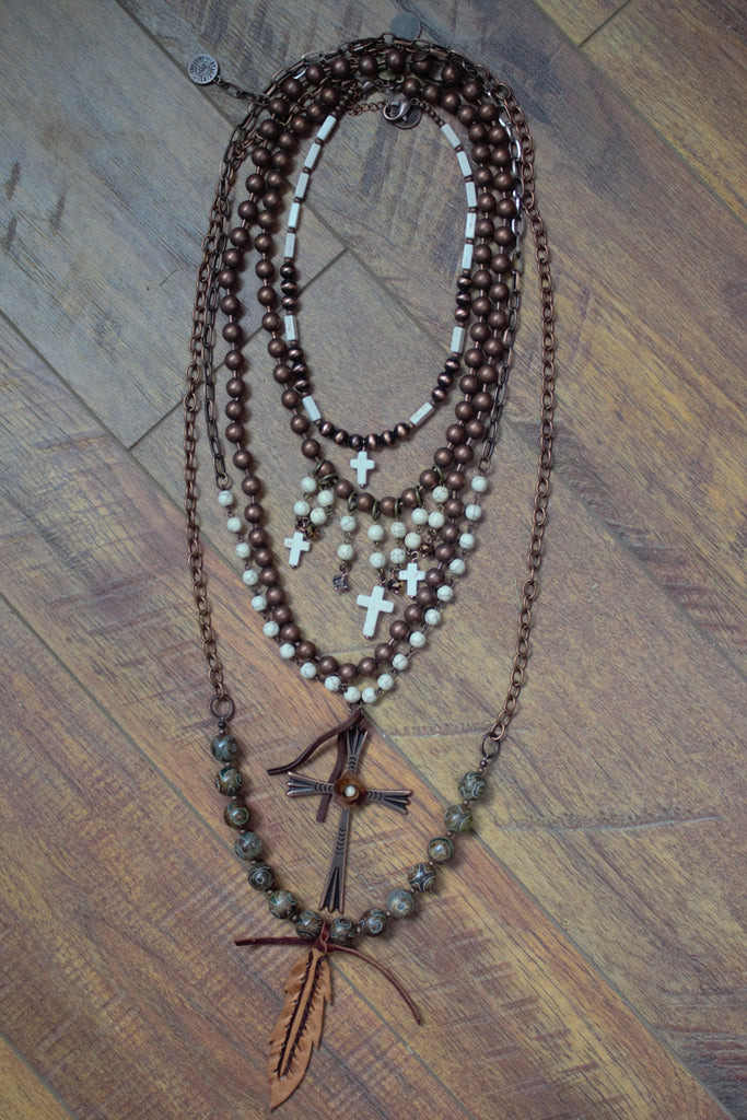 The Rebel Rosary - 5 Piece Necklace Set - Saddles & Lace - New western and southwest inspired clothing, bags, and accessories for women