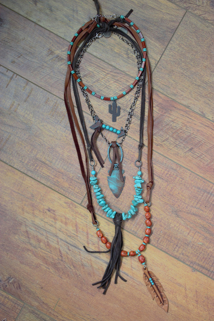 The Route 66 - 5 Piece Necklace Set - Saddles & Lace - New western and southwest inspired clothing, bags, and accessories for women