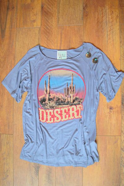 Desert Vibes - Denim Blue Tee Shirt - Saddles & Lace - New western and southwest inspired clothing, bags, and accessories for women