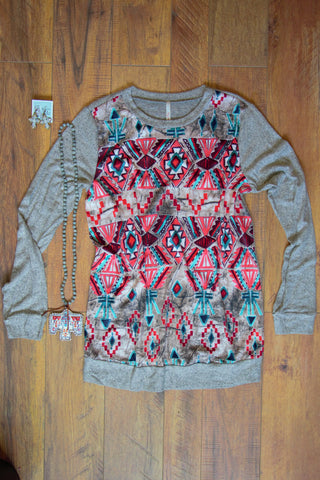 Coral Whispers - Heather Grey Sweater - Saddles & Lace - New western and southwest inspired clothing, bags, and accessories for women