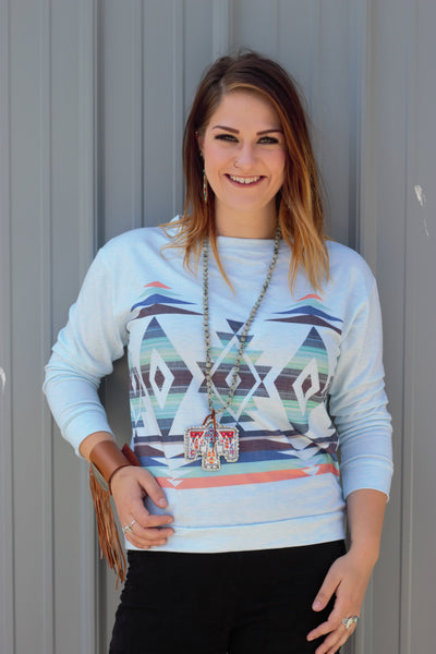 Blue Aztec Long Sleeve Top - Saddles & Lace - New western and southwest inspired clothing, bags, and accessories for women