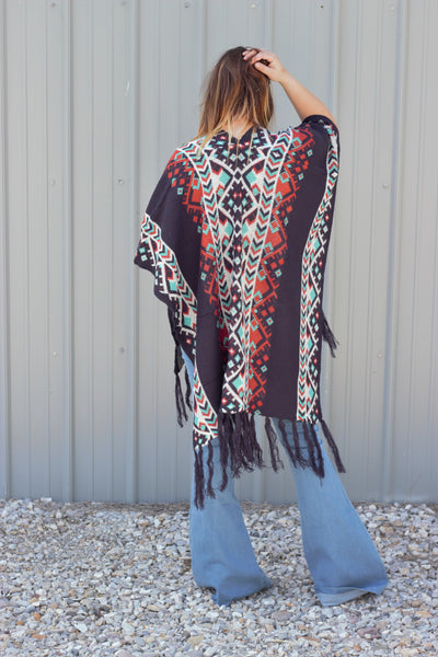 The River - Blue Knit Tribal Poncho
