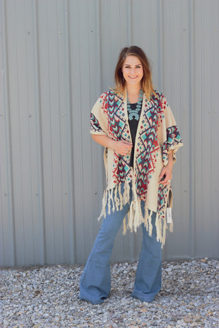 The River - Natural Knit Tribal Poncho