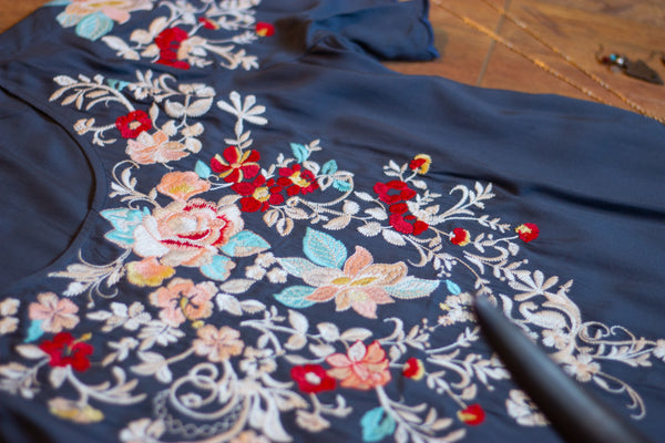 Navy Floral Embroidered Blouse