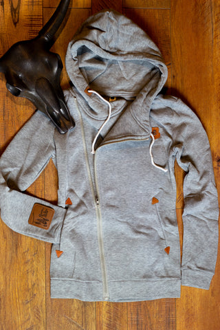 The Classic Twist- Saddles & Lace Side-Zip Hoode in Heather Grey