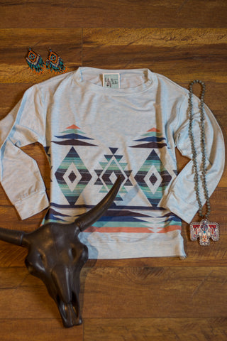 Light Blue Aztec Long Sleeve Top - Saddles & Lace Boutique - Western and boho inspired clothing, bags, and accessories for women