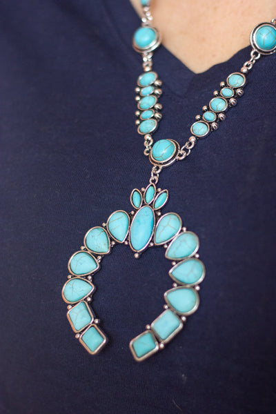 Long Turquoise Naja Drop Necklace - Saddles & Lace Boutique - Western and boho inspired clothing, bags, and accessories for women