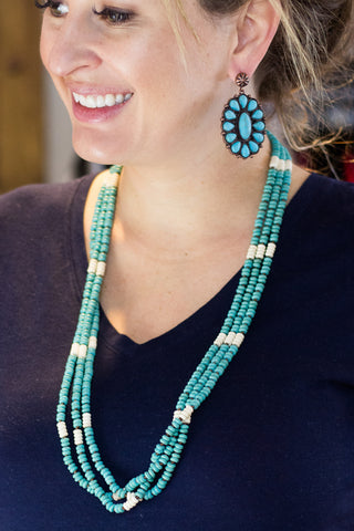 3 Strand Turquoise Beaded Necklace - Saddles & Lace Boutique - Western and boho inspired clothing, bags, and accessories for women