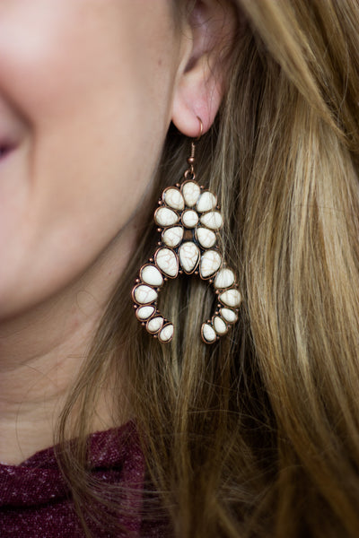 Ivory Squash Blossom Earrings - Copper - Saddles & Lace Boutique - Western and boho inspired clothing, bags, and accessories for women
