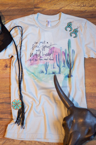Wide Open - Stone Colored Tee Shirt - Saddles & Lace Boutique - Western and boho inspired clothing, bags, and accessories for women