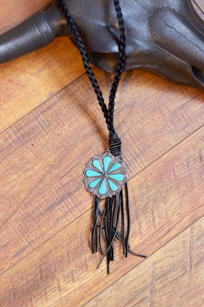The Rosetta - Black Leather Necklace
