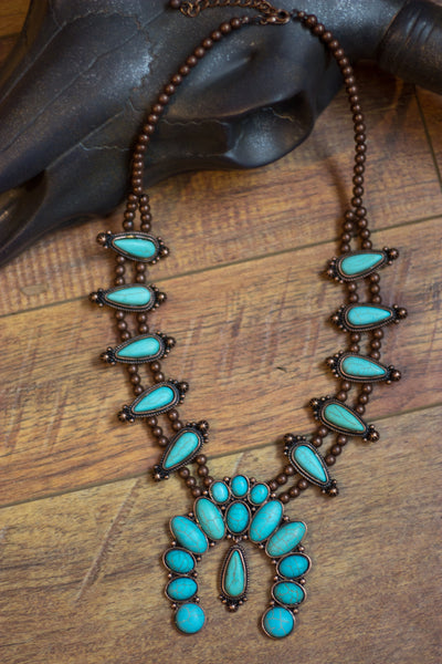 The Spirit Lake Squash Blossom - Turquoise Necklace