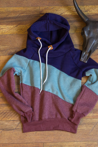 Color Block Hoodie - Raspberry - Saddles & Lace Boutique - Western and boho inspired clothing, bags, and accessories for women