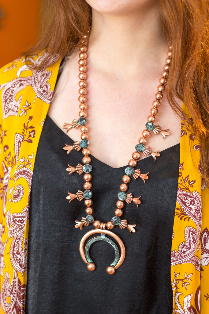The Copper Patina - Faux Squash Necklace - Saddles & Lace Boutique - Western and boho inspired clothing, bags, and accessories for women